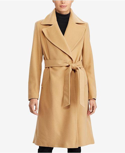 popular style most fashionable discount coupon Lauren Ralph Lauren Cashmere Blend Wrap Coat & Reviews ...