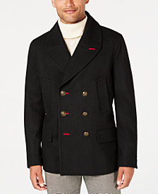 Tallia Men's Slim-Fit Black Solid Double-Breasted Peacoat