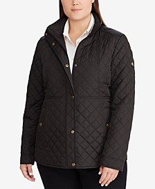 Plus Size Faux-Leather-Trim Quilted Jacket, Created for Macy's
