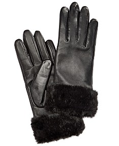 5827cb318 Charter Club Faux Fur-Cuff Leather Tech Gloves, Created for Macy's