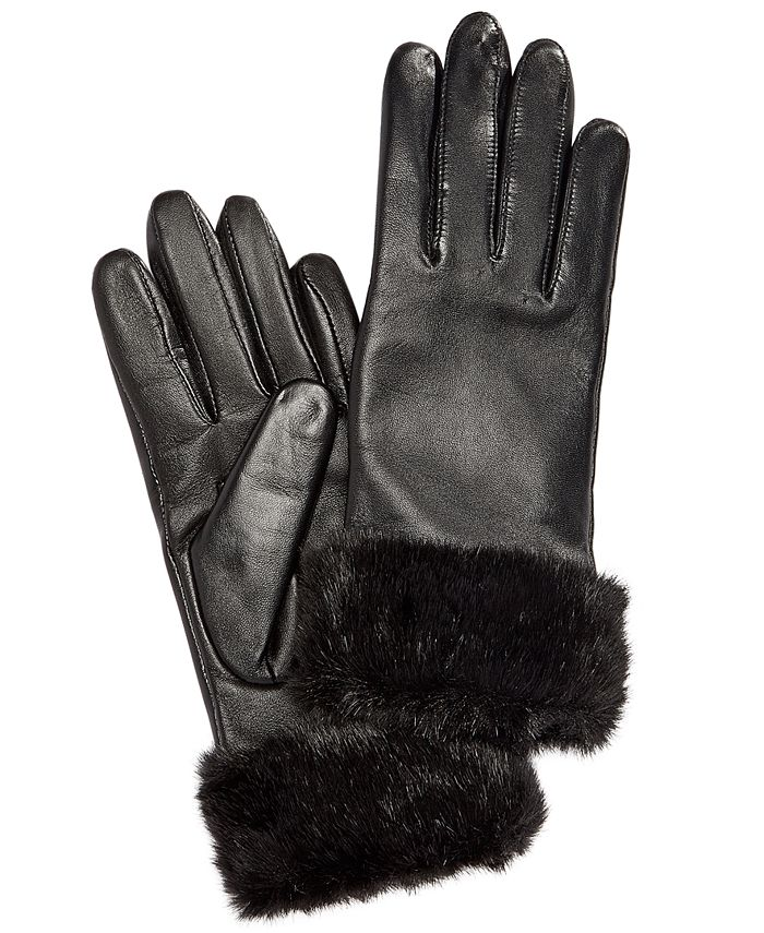 Charter Club - Faux Fur Cuff Leather Tech Gloves