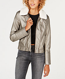 Celebrity Pink Juniors' Faux-Fur-Collar Moto Jacket
