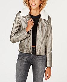 Celebrity Pink Juniors' Faux-Fur-Collar Moto Jacket
