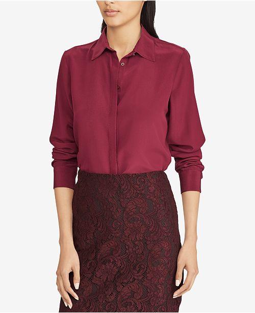afe089fcb3003 Lauren Ralph Lauren Silk Button-Down Shirt   Reviews - Tops ...