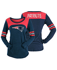 5th & Ocean Women's New England Patriots Tri-Blend Distressed Long Sleeve T-Shirt