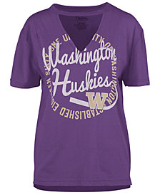 Royce Apparel Inc Women's Washington Huskies Cutout V-Neck T-Shirt