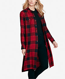 Jessica Simpson Juniors' Pixel Plaid Duster Shirt