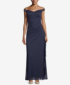Betsy & Adam Petite Off-The-Shoulder Ruched Gown