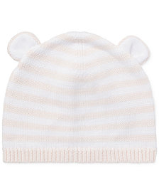 Ralph Lauren Baby Girls Bear-Ear Cotton Hat