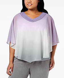 Alfred Dunner Plus Size Smart Investments Ombré-Overlay Top