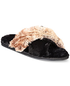 I.N.C. Faux-Fur Cross Band Slippers, Created for Macy's