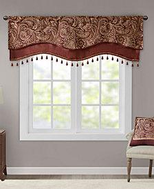 "Madison Park Aubrey 50"" x 18"" Jacquard Rod Pocket Window Valance With Beads"