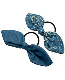 GUESS 2-Pc. Set Denim Bow Ponytail Holders