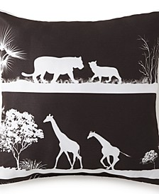 "African Safari 18"" x 18"" Square Pillow - Black Safari"