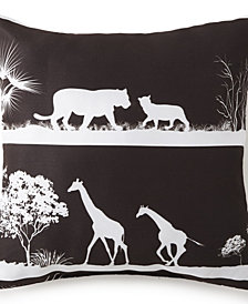 "African Safari Square Pillow 18""x18"" - Black Safari"
