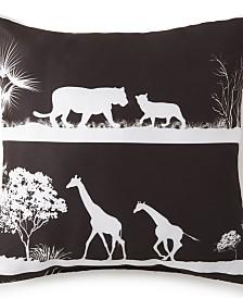 """African Safari 18"""" x 18"""" Square Pillow - Black Safari"""