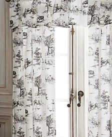 Toile Back In Black Tailored Valance - Linen Fabric with Black Print