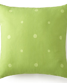 "Poppy Plaid Square Pillow 18""x18"" - Green Polka Dot"