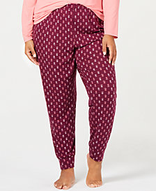 Charter Club Plus Size Printed Jogger Pajama Pants, Created for Macy's