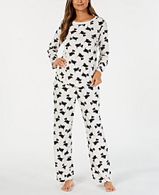 Charter Club Printed Thermal Fleece Pajama Set, Created for Macy's