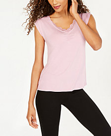 I.N.C. Lace-Trim Sleep Top, Created for Macy's