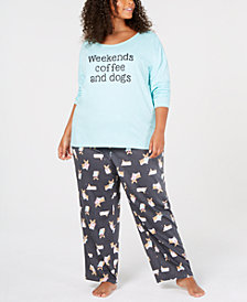 Jenni Plus Size Cotton Graphic Top & Pajama Pants Set, Created for Macy's