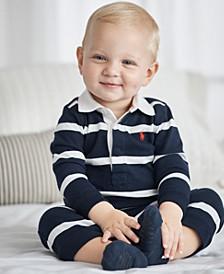 폴로 랄프로렌 남아용 럭비 우주복 Polo Ralph Lauren Ralph Lauren Baby Boys Striped Rugby Cotton Coverall
