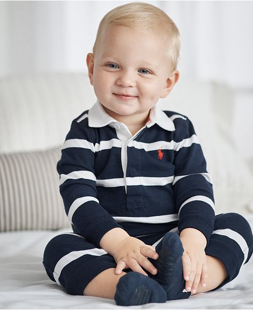 84652100 ... Polo Ralph Lauren Ralph Lauren Baby Boys Striped Rugby Cotton Coverall  ...
