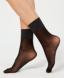 HUE® Metallic-Band Anklet Socks