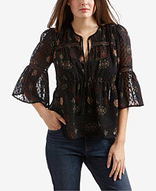 Lucky Brand Dotted Swiss Floral-Print Top
