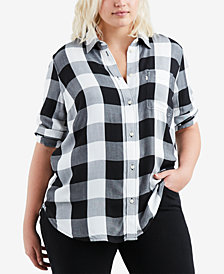 Levi's® Plus Size Ryan Cotton Plaid Button-Back Shirt