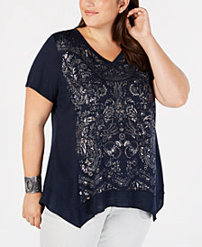 Style & Co Plus Size Metallic-Graphic Top, Created for Macy's