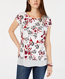 Tommy Hilfiger Layered-Look Floral-Print Top, Created for Macy's