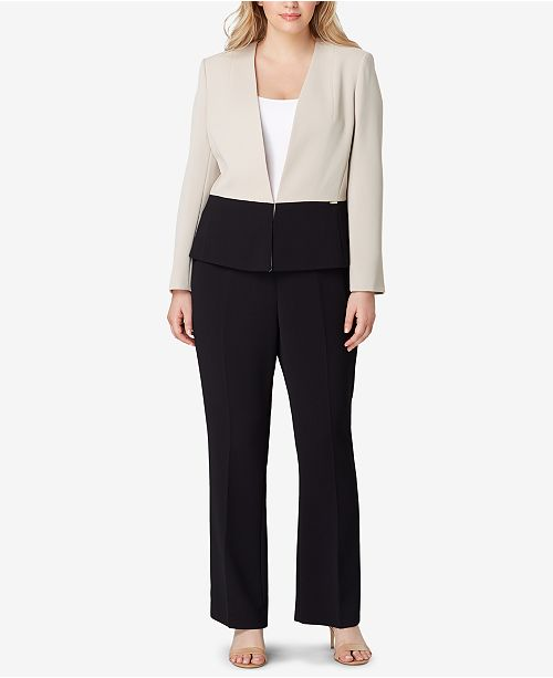 Tahari ASL Plus Size Colorblocked Pantsuit & Reviews - Wear ...