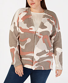 525 America Plus Size Cotton Camo-Print Cardigan