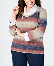 Alfred Dunner Plus Size News Flash Layered-Look Necklace Sweater