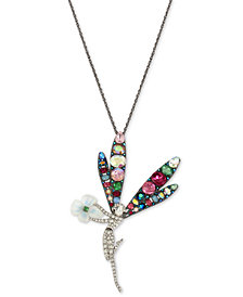 "Betsey Johnson Two-Tone Crystal Fairy Pendant Necklace, 36"" + 3"" extender"