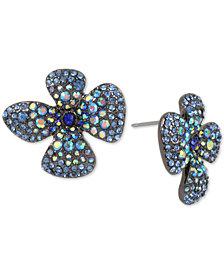 Betsey Johnson Hematite-Tone Crystal Flower Stud Earrings