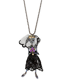 "Betsey Johnson Black-Tone Crystal & Mesh Skeleton Bride Pendant Necklace, 36"" + 3"" extender"