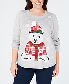 Karen Scott Plus Size Patchwork Bear Sweater, Created for Macy's