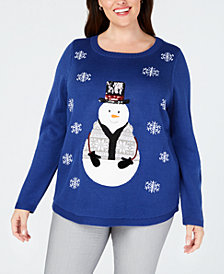 Karen Scott Plus Size Embellished Snowman Sweater, Created for Macy's