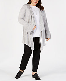 Style & Co Plus Size Ruffled-Sleeve Open-Front Cardigan, Created for Macy's