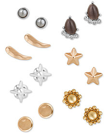 Lucky Brand Two-Tone 7-Pc. Set Crystal & Stone Stud Earrings, Created for Macy's