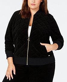 Calvin Klein Plus Size Velour Track Jacket