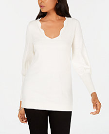 Love Scarlett Petite Scalloped Tie-Back Sweater