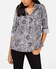 Petite Printed Utility Shirt