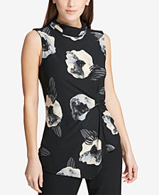 DKNY Floral Printed Asymmetrical-Hem Shell, Created for Macy's