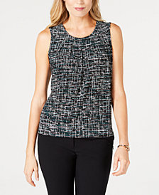 Kasper Printed Pleated Camisole Top
