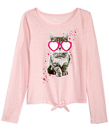 Epic Threads Big Girls Long-Sleeve Tie-Front T-Shirt, Created for Macy's
