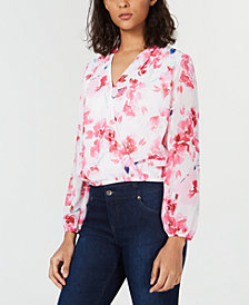 Bar III Floral-Print Surplice Top, Created for Macy's